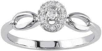 10k White Gold 1/10-Ct. T.w. Diamond Oval Halo Ring