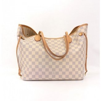 Louis Vuitton very good (VG Neverfull MM White Damier Azur Canvas Tote Bag