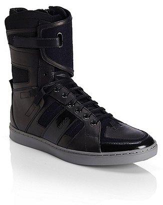 HUGO BOSS Raion Leather Blend Hightop Sneakers - Black