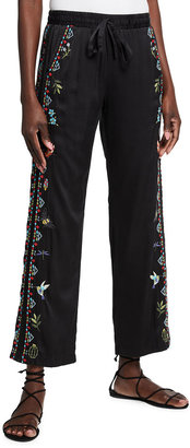 Johnny Was Indra Embroidered Silk Pull-On Pants