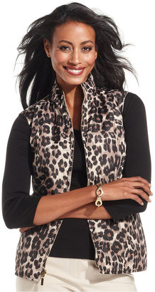 Charter Club Jacket, Sleeveless Reversible Animal-Print Quilted Vest