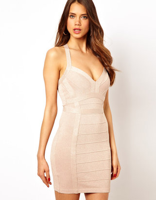 Lipsy Glitter Bandage Bodycon Dress with Plunge Neck - Pink