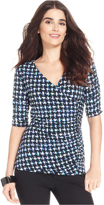 Style&Co. Top, Three-Quarter-Sleeve Printed Ruched