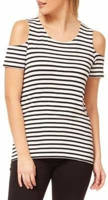 Dex Striped Cold-Shoulder Top