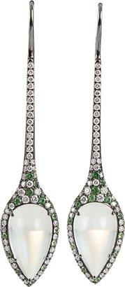 Arunashi Moonstone, Demantoid, and Diamond Earrings