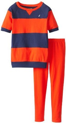 Nautica Girls 7-16 2 Piece Color Block Knit Top and Legging Set