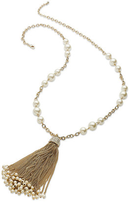 Charter Club Gold-Tone Glass Pearl and Tassel Pendant Long Necklace
