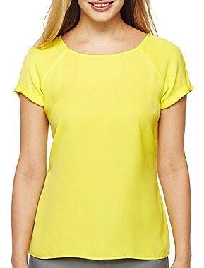 JCPenney Worthington® Short-Sleeve Woven Blouse - Petite