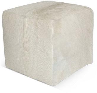 Le-Coterie Cube 18 Pouf, White Hide