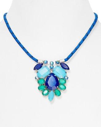 "Aqua Blue Multi Cluster Cord Necklace, 18"""