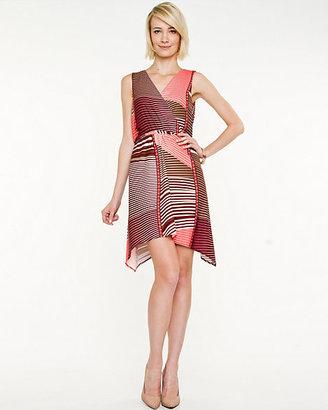 Le Château Crepe Abstract Print Wrap Dress