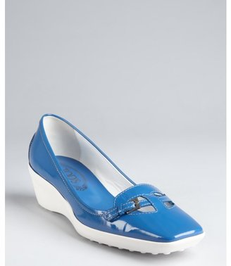 Tod's azure patent leather cutout buckle strap loafer wedges