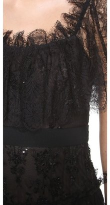 Marchesa Embroidered Lace Tiered Gown