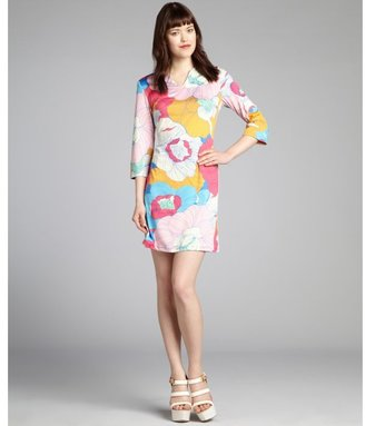 Julie Brown JB by blue and pink floral print 'Ellie' split neck shift dress