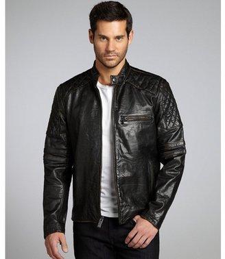 Marc Moto black leather quilted shoulder motorcycle jacket
