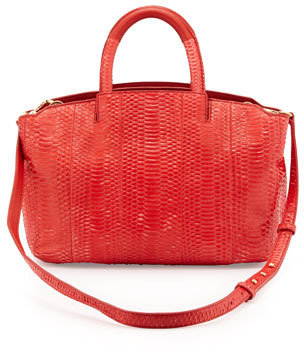 Brian Atwood Gloria Small East/West Snakeskin Tote Bag, Red