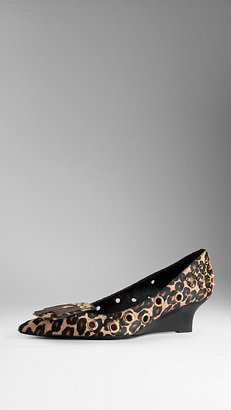 Burberry Eyelet Detail Studded Kitten Wedges