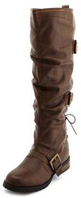 Charlotte Russe Triple Buckle Knee-High Boot
