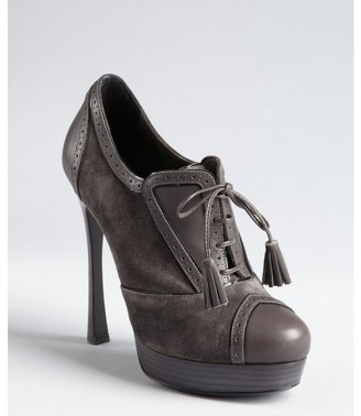 Yves Saint Laurent graphite leather and suede lace up oxford stilettos