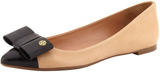 Tory Burch Aimee Point-Toe Leather Bow Flat, Beige/Black