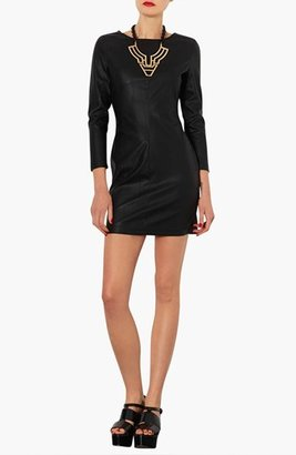 Topshop 'Cindy' Long Sleeve Faux Leather Body-Con Dress