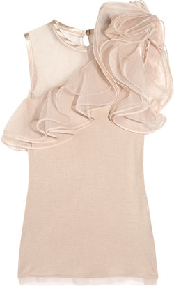 Valentino Jersey and ruffled tulle top