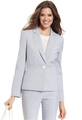 Le Suit Petite Jacket, Single-Button Seersucker Blazer