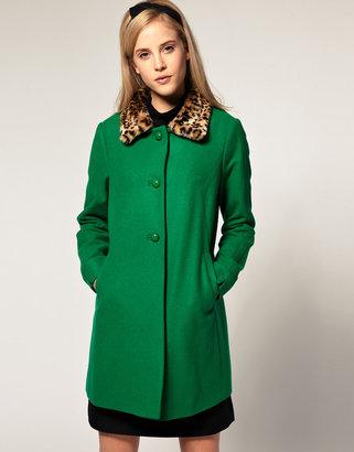 Asos Leopard Collar 60s Coat