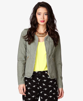 Forever 21 LOVE 21 Collarless Knit Back Jacket