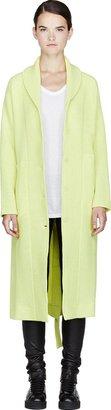 Maison Martin Margiela Chartreuse Wool Waffle-Knit Coat