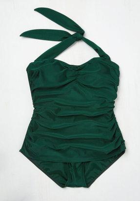 Bathing Beauty One-Piece Swimsuit in Emerald - 16-26