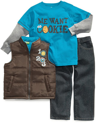 Nannette Baby Set, Baby Boys Cookie Monster 3-Piece Vest, Shirt and Pants