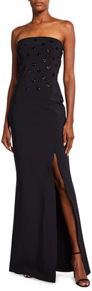 Chiara Boni Side Slit Bustier Column Gown