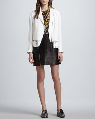 3.1 Phillip Lim Trompe l'Oeil Layered Silk Moto Jacket, White