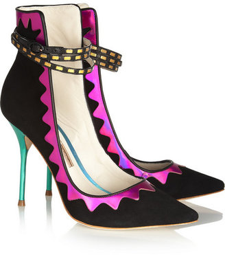 Webster Sophia Roka iridescent leather and suede pumps
