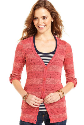 Planet Gold Juniors Sweater, Three-Quarter Sleeve Stripe Cardigan