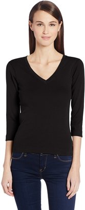 Three Dots Women's Deep V Neck 3/4 Sleeve Tee