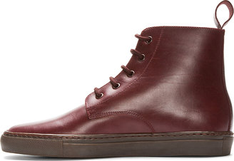 Common Projects Burgundy Leather Training Boots