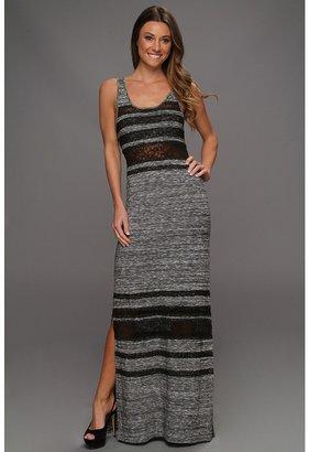 Free People Hazy Days Lace Stripe Maxi Dress (Slate) - Apparel
