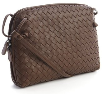 Bottega Veneta brown intrecciato leather mini crossbody bag