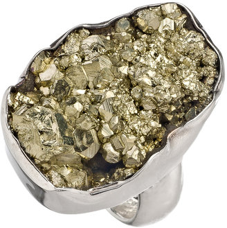 Charles Albert Silver Rocky Pyrite Geode Ring