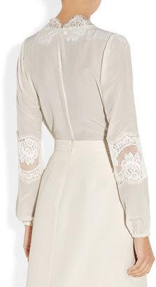 Dolce & Gabbana Lace-trimmed silk crepe de chine blouse