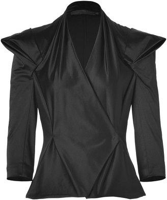 Donna Karan Black Satin Draped Jacket
