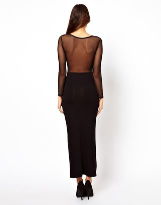 Asos Bodycon Dress With Mesh Top And Step Hem