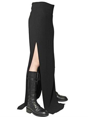 Ann Demeulemeester Viscose/Virgin Wool Gabardine Long Skirt