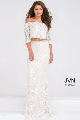 Jovani Lace Off the Shoulder Two Piece Beaded Prom Dress JVN47915