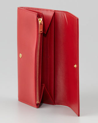 Saint Laurent Marquage Continental Wallet, Rouge