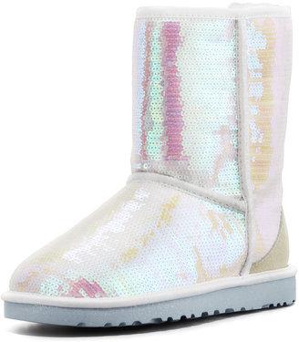 UGG I Do! Sparkles Short Bridal Shearling Boot, White