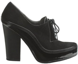 CK Calvin Klein Nell Heeled Oxford Shoes - Suede-Patent Leather (For Women)