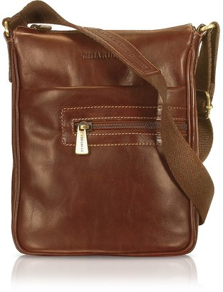 Chiarugi Handmade Brown Genuine Leather Vertical Cross-Body Bag